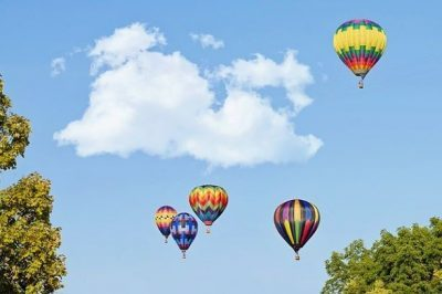 colorful hot air balloons rising on a sunny day