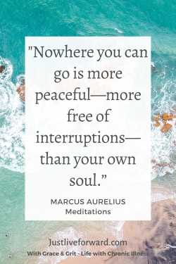 """Ancient words of wisdom in Pinterest pin image of quote by Marcus Aurelius that reads: """"Nowhere you can go is more peaceful - more free of interruptions - than your own soul."""""""