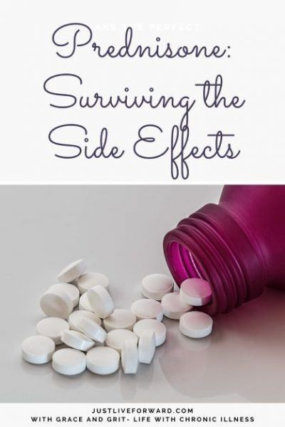 """Image that reads """"Prednisone - Surviving the Side Effects"""", with photo of magenta pill bottle and white pills"""